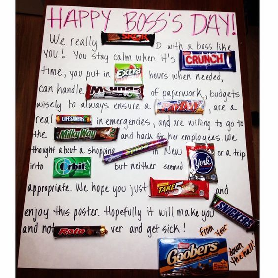 I don't pin many of my own pictures but after combining many of these candy cards I finally came up with the perfect one for my boss today for National Boss's Day, because she really is the best.: