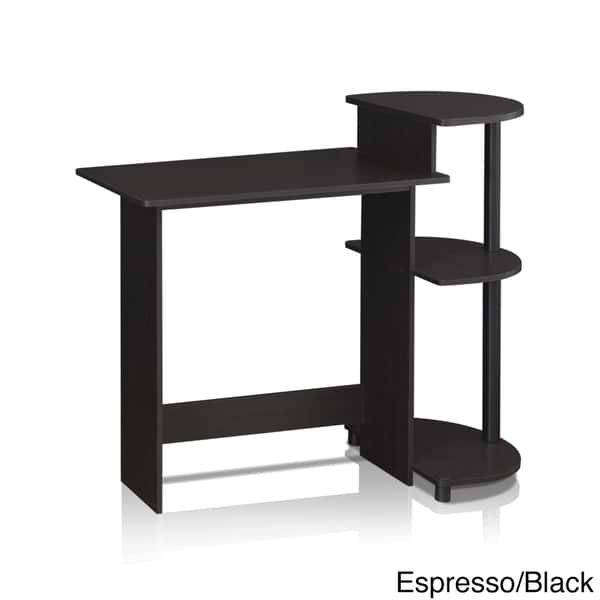 Compact Modern Wood Computer Desk with Shelves