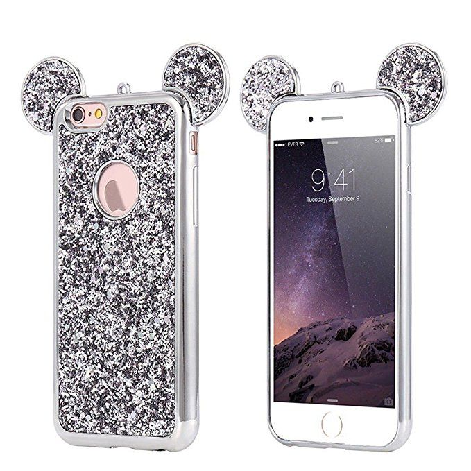 9a2c9d2b4 ... Glitter Mickey Ears Case, Luxury Protective TPU Bling Crystal  Rhinestone Sparkle Glitter Diamond Case Cover Compatible with iPhone 6 & iPhone  6s [4.7