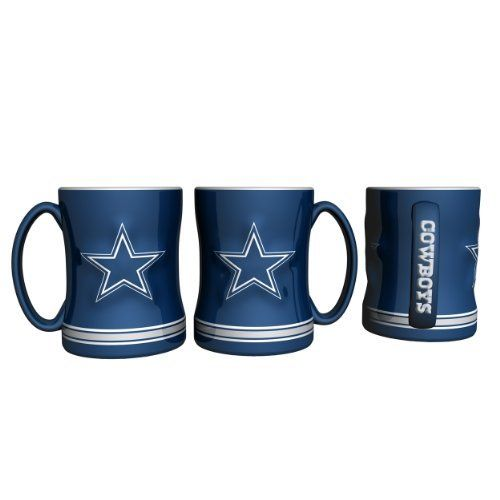 NFL Dallas Cowboys Boxed Relief Sculpted Mug by Boelter. Save 17 Off!. $16.62. Boelter Brands' 14oz Ceramic Relief Sculpted Mug. These fun and colorful mugs are sculpted o both sides as well as the handle. Individually Gift Boxed. Made In China.