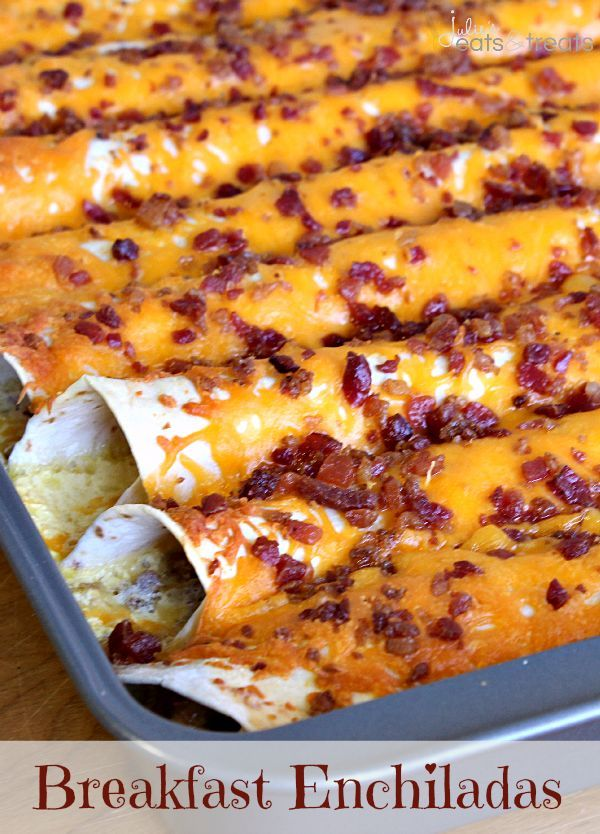 Breakfast Enchiladas ~ Tortillas stuffed with sausage, eggs, cheese and bacon then topped with more bacon and cheese! Make the night before!...