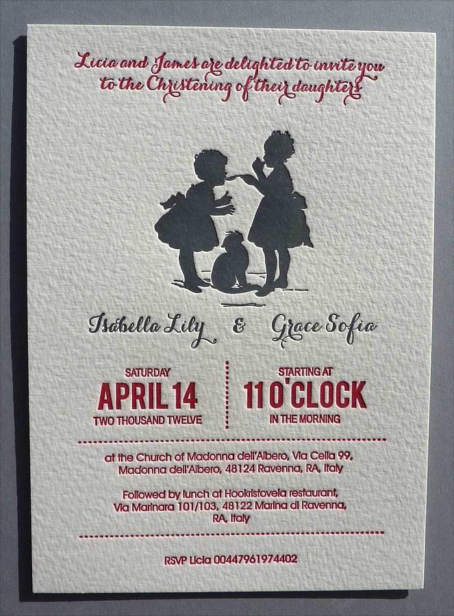 Letterpress Twins Christening Invitation