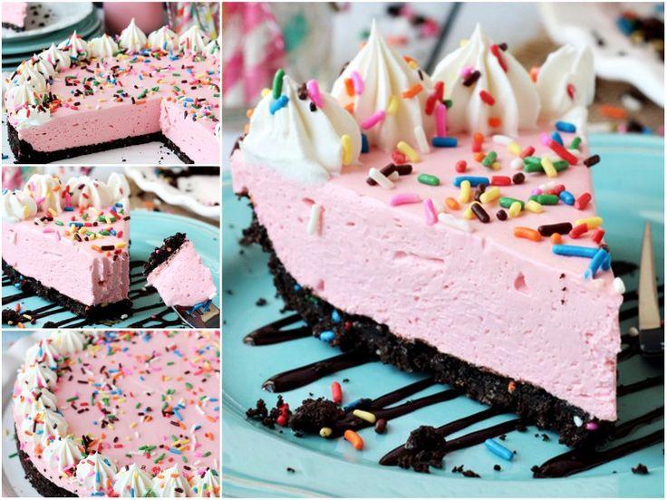 No Bake Strawberry Milkshake Cheesecake