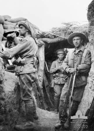 Australian War Memorial. Australian troops in the Turkish Lone Pine trenches
