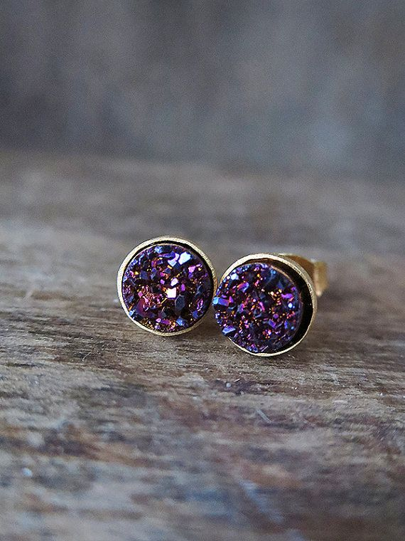 Plum Druzy Studs in Yellow Gold Purple Glitter by AmuletteJewelry, $56.00