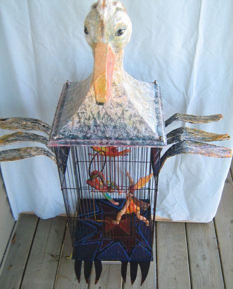 Acrobates en cage, papier mâché, métal, acrylique, 46 x 18 pouces environ *VENDU