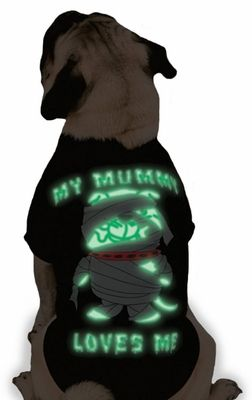 My Mummy Loves Me Tee It's a comfortable t-shirt and a fun Halloween fashion statement all wrapped up in one! My Mummy Loves Me Tees are soft, easy-fit tees for #dogs with a glow-in-the-dark design on back.