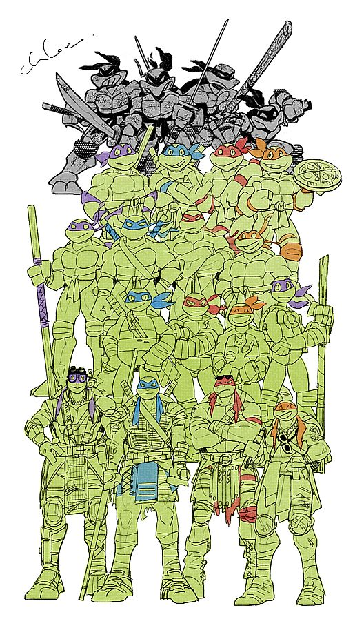 TMNT through the years. Most people don't know but the Teenage Mutant Ninja Turtles were originally created to br a parody of Marvel's Daredevil
