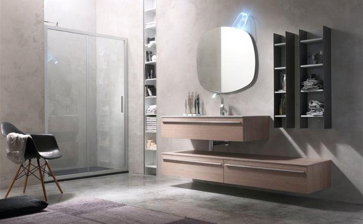 Mobili per bagno in legno impiallacciato rovere argilla , tutti gli elementi sospesi  ed hanno particolori in metallo! Scegli tra i modelli disponibili!
