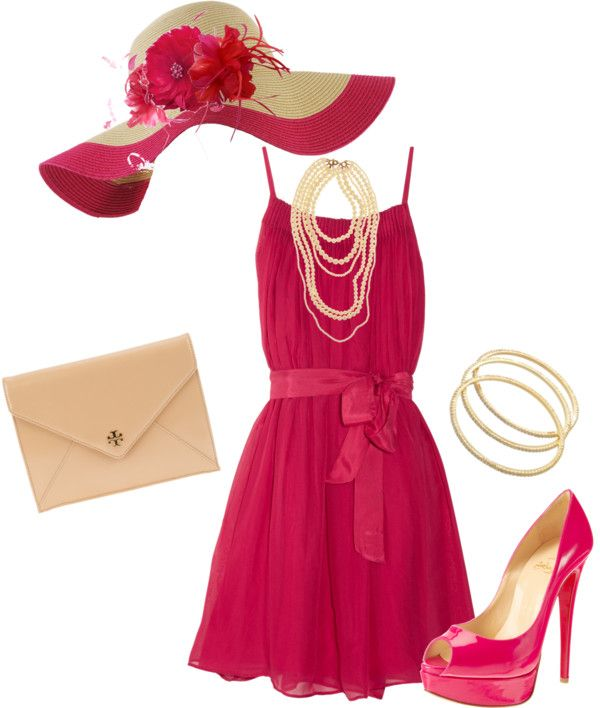 """Kentucky Derby Pink"" by verydefinitely on Polyvore"