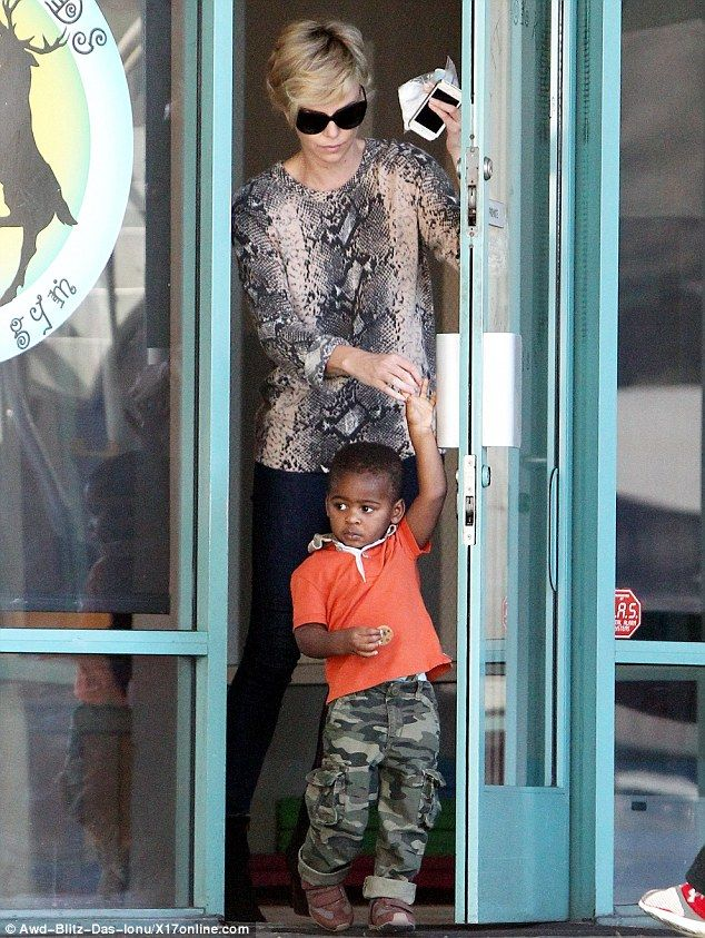 Charlize Theron picks up her son Jackson from a children's gym.