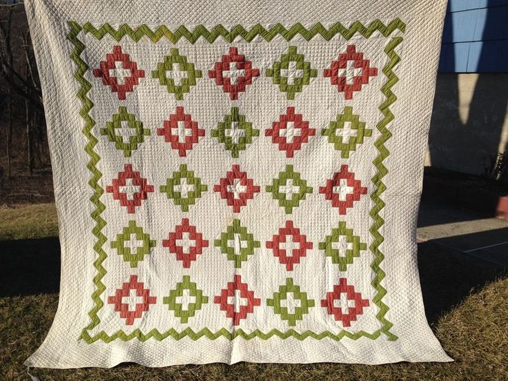 """Antique Quilt 1890 """"Chimney Sweep"""" Red & Green Vintage Hand Quilted Beautiful, eBay, moestuf"""