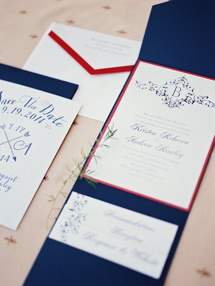 Red, white & blue Wedding Invitations | photography by http://www.tracyenochphotography.com