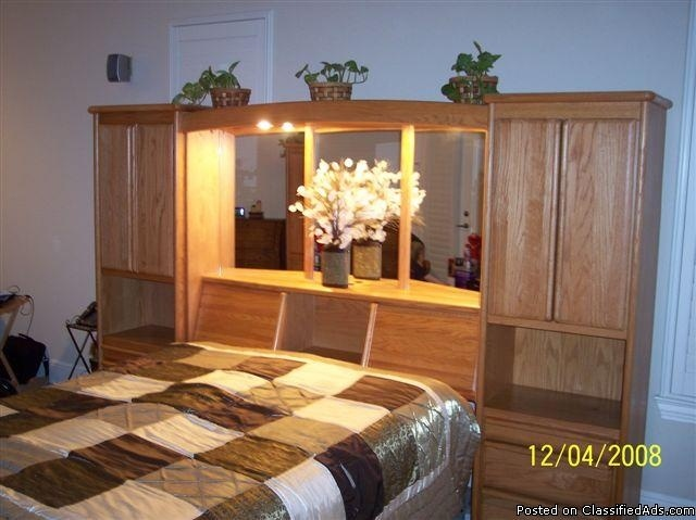 Headboard With Storage And Lights To Read At Night Awesome Oak Wood Queen Pier Bedroom Set Price 1200 00 For The Home Pinterest