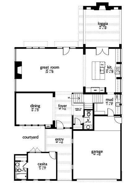 Plano de casa moderna con 4 dormitorios y salón de juegos