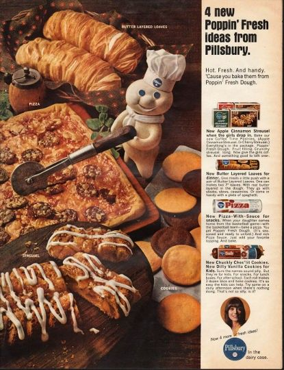 """1966 PILLSBURY vintage magazine advertisement """"Poppin' Fresh ideas"""" ~ Butter Layered Loaves - Pizza - Streusel - Cookies - 4 Poppin' Fresh ideas from Pillsbury. - Hot. Fresh. And handy. 'Cause you bake them from Poppin' Fresh Dough. - New Apple ..."""