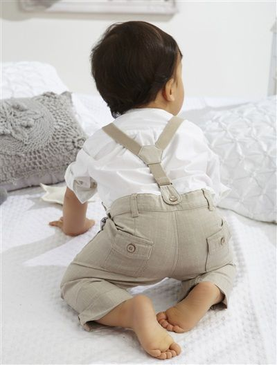 Baby Boy Shirt & trousers outfit WHITE £20.00 I love the braces - an essential accessory for pants on crawling babes. ;) Mo