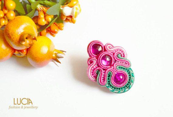 Pink soutache tulip brooch Handmade beaded flower jewelry
