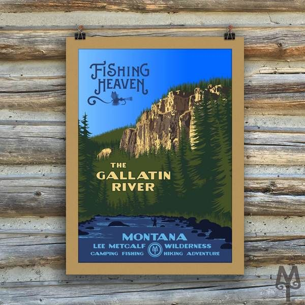 A contemporary poster in the WPA style that commemorates Montana's Gallatin River and Fishing Heaven. Each poster measures 18 inches by 24 inches; is made on thick, durable, matte, archival, acid-free paper. This particular poster version has an integrated, textured matte printed onto it, as well...It will look great in an off-the-shelf frame. Designed in Montana. Printed in the USA.