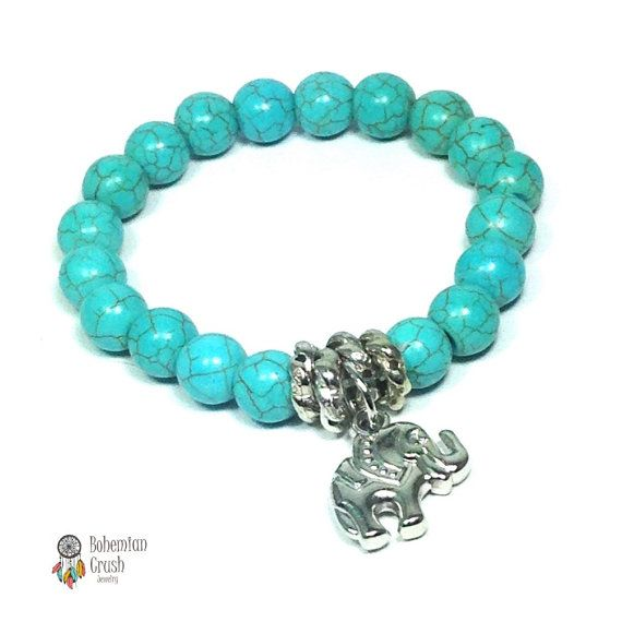 Check out this item in my Etsy shop https://www.etsy.com/ca/listing/277392722/elephant-turquoise-bracelet-yoga