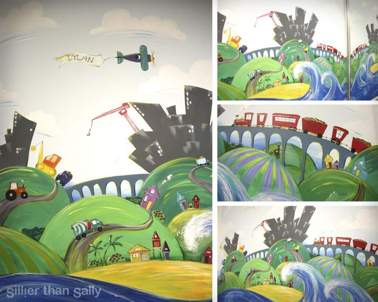 Sillier than sally construction mural for boys room for Mural village