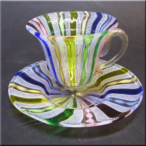 Murano white zanfirico + multicoloured twisted filigree cup + saucer.