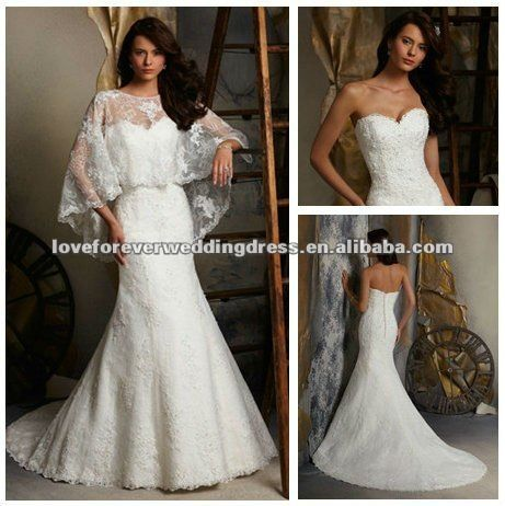 Flow-y lace bolero (mmm)    Ivory Color With Beautiful Bolero Best Design 2013 Designer Lace Wedding Gowns