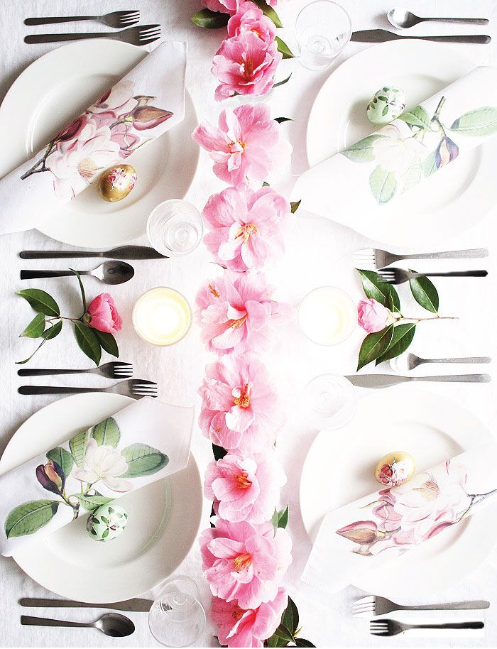 DIY Magnolia Napkins + Easter Tablescape | Poppytalk