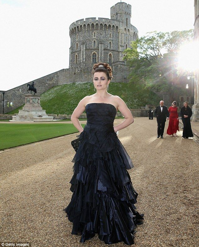 Perfect setting: Helena Bonham-Carter fitted in perfectly with the castle wearing a typically dramatic dress