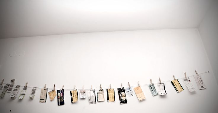 pin a length of string up to a wall and use clothespins to display your hearts desire (concert tickets are shown here). i once had a wall with all my colorful scarves hung similar to this, and it was gorg.