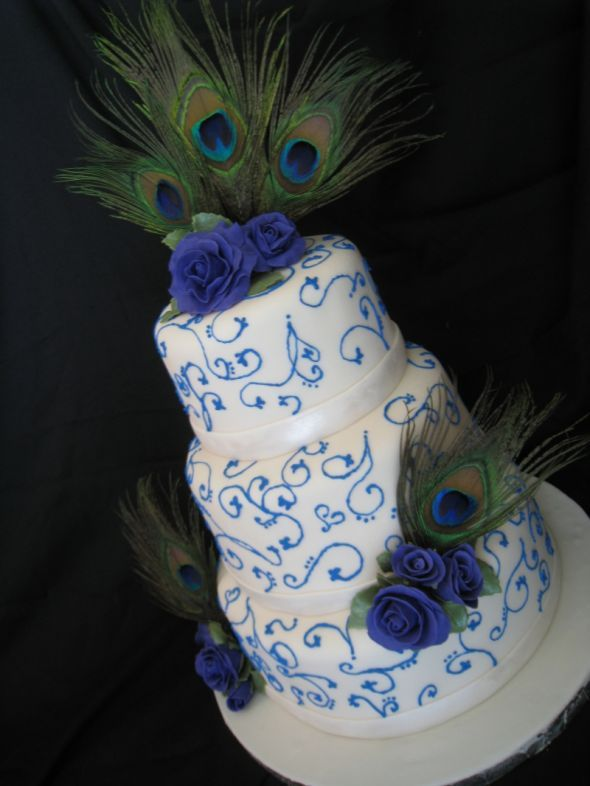 Peacock Cakes! :  wedding peacock cake wedding cake blue green teal peacock Normal 1274847293