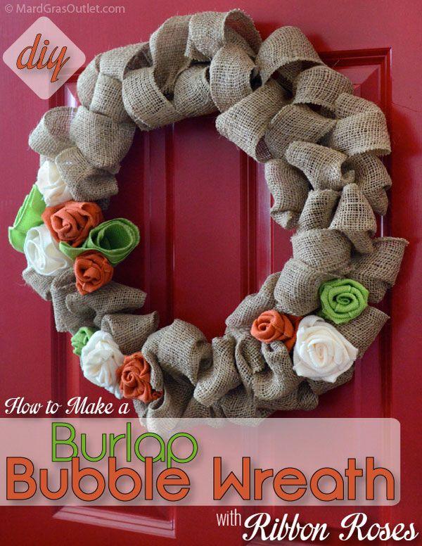 DIY Burlap Wreath: Tutorial with Burlap Ribbon for Natural Fall Decor | MardiGrasOutlet.com