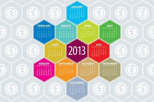 The 2013 Hexagonal calendar as a desktop wallpaper.