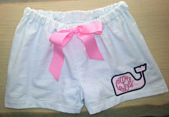 Monogrammed Seersucker Flannel Vineyard Vines Inspired Pajama Shorts on Etsy, $16.50