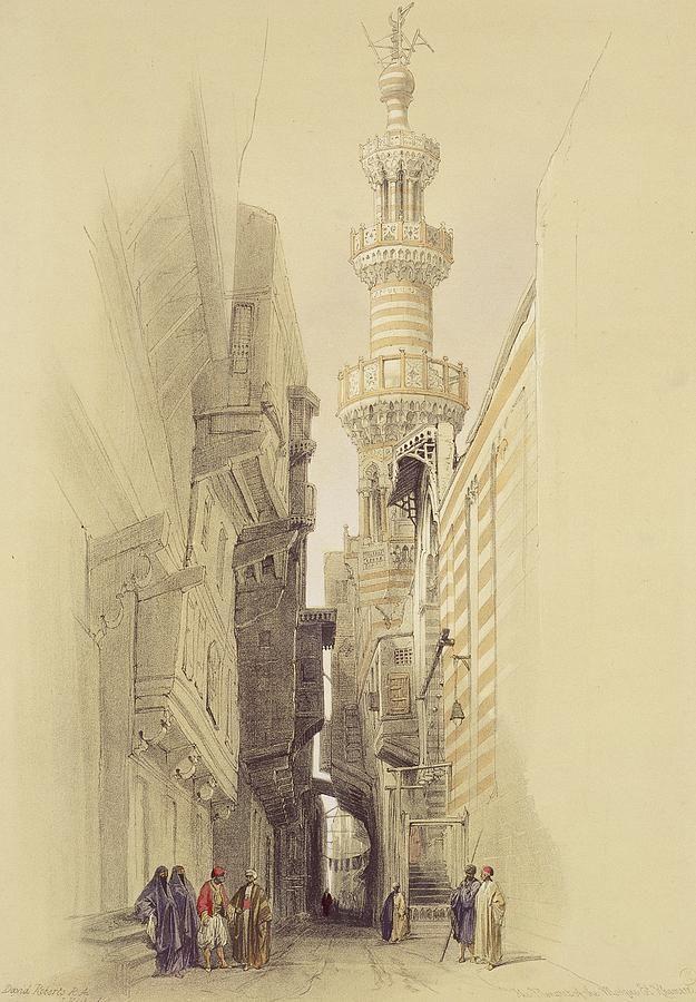 The Minaret Of The Mosque Of El Rhamree Painting  -  David Robert
