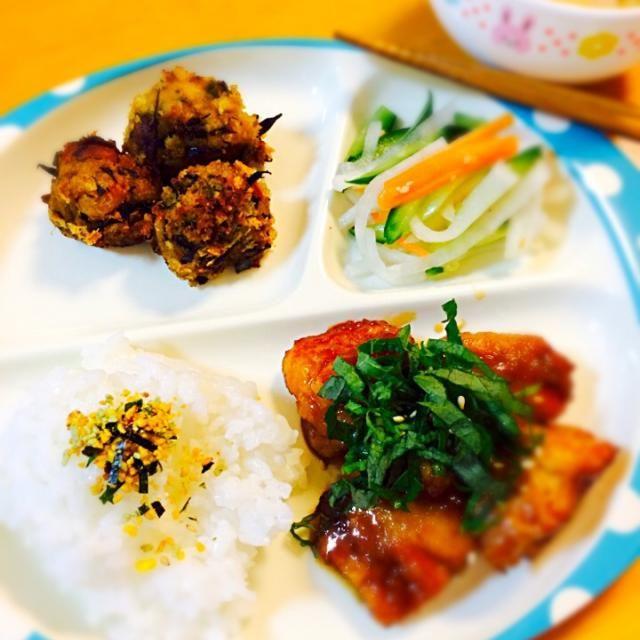 鶏の照り焼き(大葉のせ)♪なます♪カボチャサラダリメイクコロッケ♪大根葉のお味噌汁♪ - 80件のもぐもぐ - 鶏の照り焼き定食♪ by paraiba