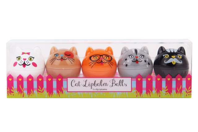 CAT LIPBALM BALLS  5 piece cat-themed lip balm balls in an easy to use dome shape are a cinch to apply and will leave your lips with a smooth satin finish.  Available in all Cosmetics Plus stores. See location: cosmeticsplus.com.au