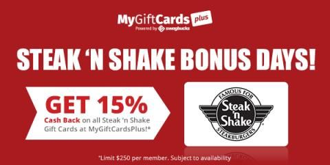 If you love Steak 'N Shake, you can get a 15% cashback when you purchase Steak 'N Shake gift cards from MyGiftCardsPlus, which is a site that gives you cash back when you buy gift cards to your favorite retailers.