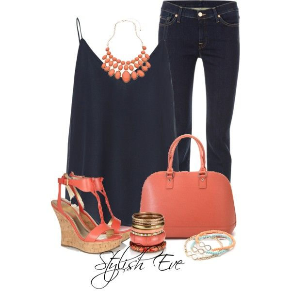 """Dark Blue and Coral"" by stylisheve on Polyvore"