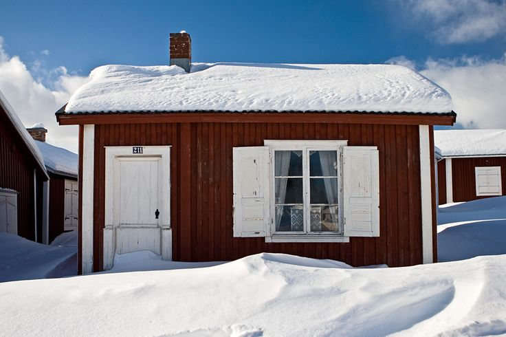 A cabin covered in snow in Luleå Sweden