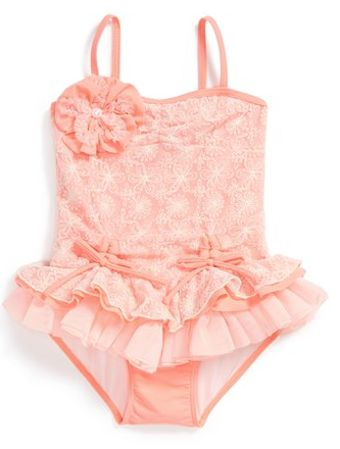 Adorable #coral swimsuit for little girls http://rstyle.me/n/gh9urr9te