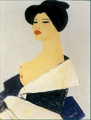 'Japanese Lady' (1994) by Italian artist Salvatore Fiume (1915-1997). Oil on masonite, 21 x 28 in.