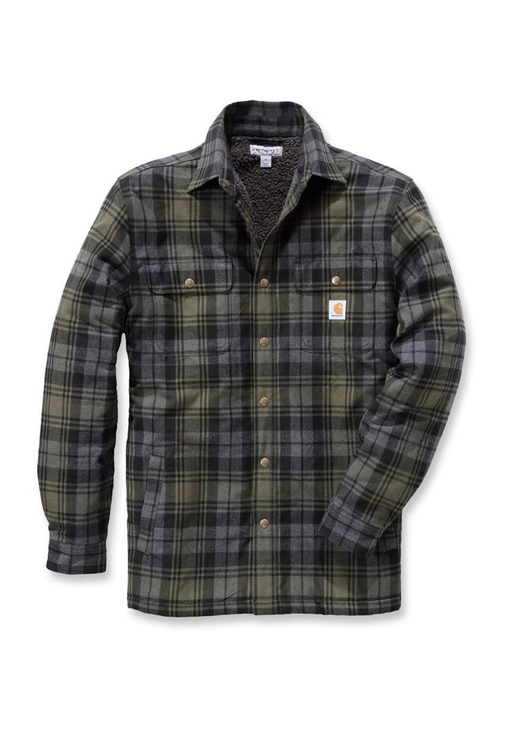 Stay warm and comfortable while on the job in the Carhartt Hubbard Sherpa-Lined Shirt Jacket, Carhartt workwear..Free P&P http://www.oceansuppliesltd.com/store/p10/Carhartt_Men%27s_Hubbard_Sherpa-Lined_Shirt_Jacket_Moss.html