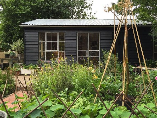 Hand-made garden shed with reclaimed pallets, ebay Crittal windows and corrogated roof (from wood-finished-driect)