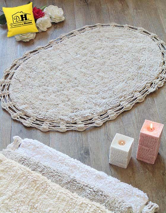 Tappeto bagno ovale con bordo crochet in colore grigio Shabby Style