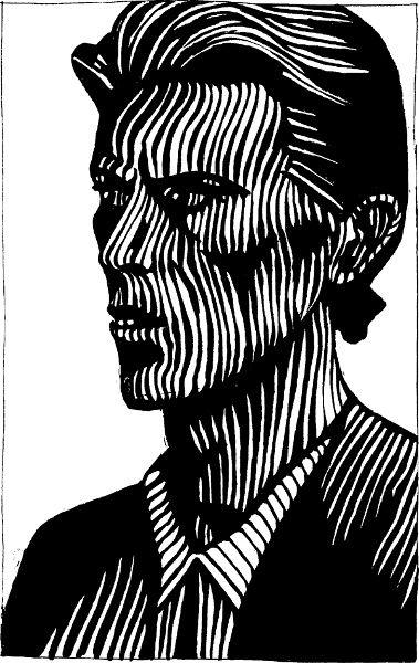 David Bowie, encre de chine, acrylique.