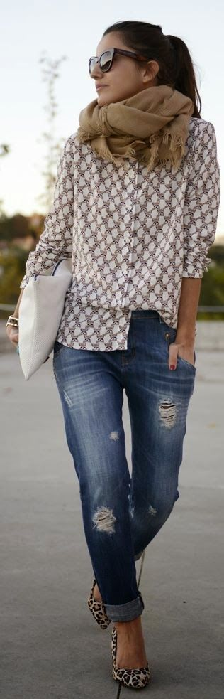 brown scarf, nice shirt and blue jeans