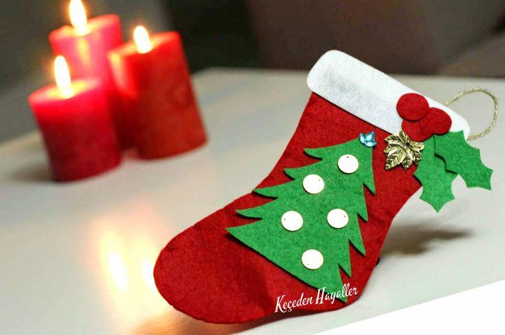 keçeden yeni yıl süsü, keçe çam ağacı, keçe yılbaşı, felt craft christmas, felt christmas socks, handmade christmas ornament, felt noel tree, keçeden yılbaşı süsleri