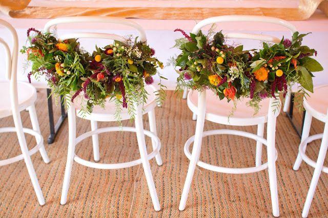 { Naomi Rose Floral Design } Boho wedding | Sheehan Studios Photography | Wedding | Tipi wedding | Mr & Mrs Chair decoration | Floral chairs |  Bright flowers