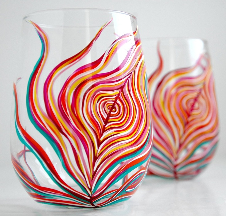 Neon Peacock Feather Stemless Glasses: Peacock Feathers, Feathers Stemless, Wine Glasses Sets, Glasses Paintings, Neon Peacock, Feathers Wine, Paintings Glasses, Feathers Glasses, Stemless Wine Glasses